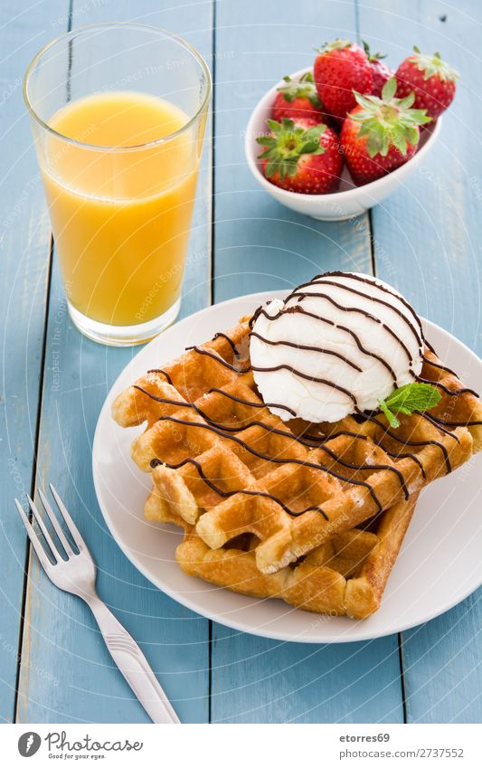 Belgian waffles with ice cream on blue wooden table Waffle Dessert Ice cream Belgium White Sweet Candy Food Healthy Eating Food photograph background Breakfast