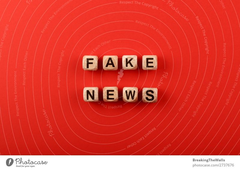 Wooden cubes with FAKE NEWS words over red Colour Red Paper Sign Information Media Word Text Politics and state Conceptual design False Communication Social