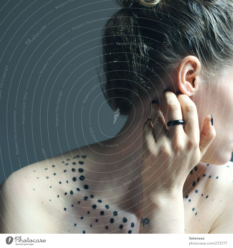 Human being Woman Youth (Young adults) Hand Beautiful Adults Naked Hair and hairstyles Young woman Skin Elegant Fingers Ear Point Tattoo Ring