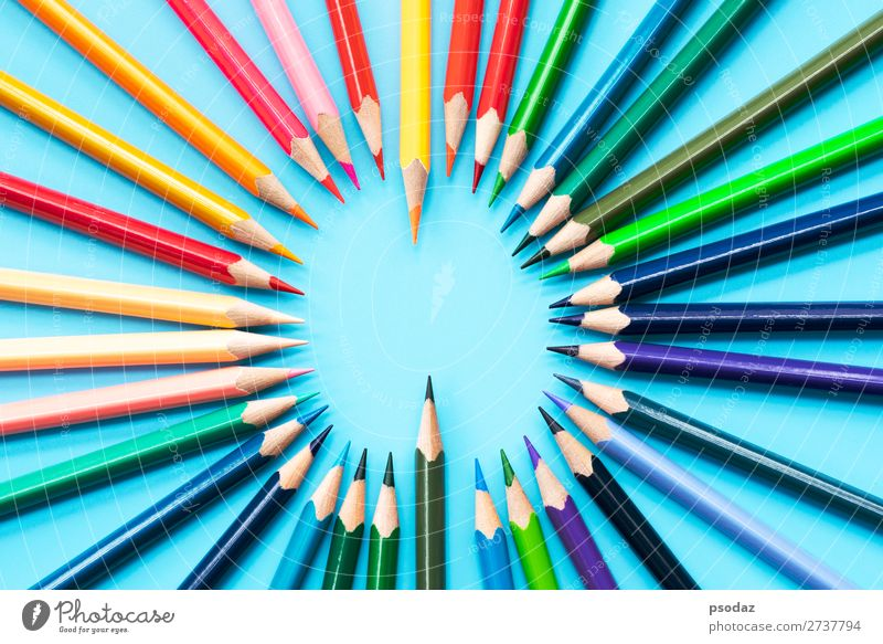 Idea sharing concept, multicolored pencils on blue background Leisure and hobbies Child School Work and employment Office Business Meeting Group Art Paper Pen