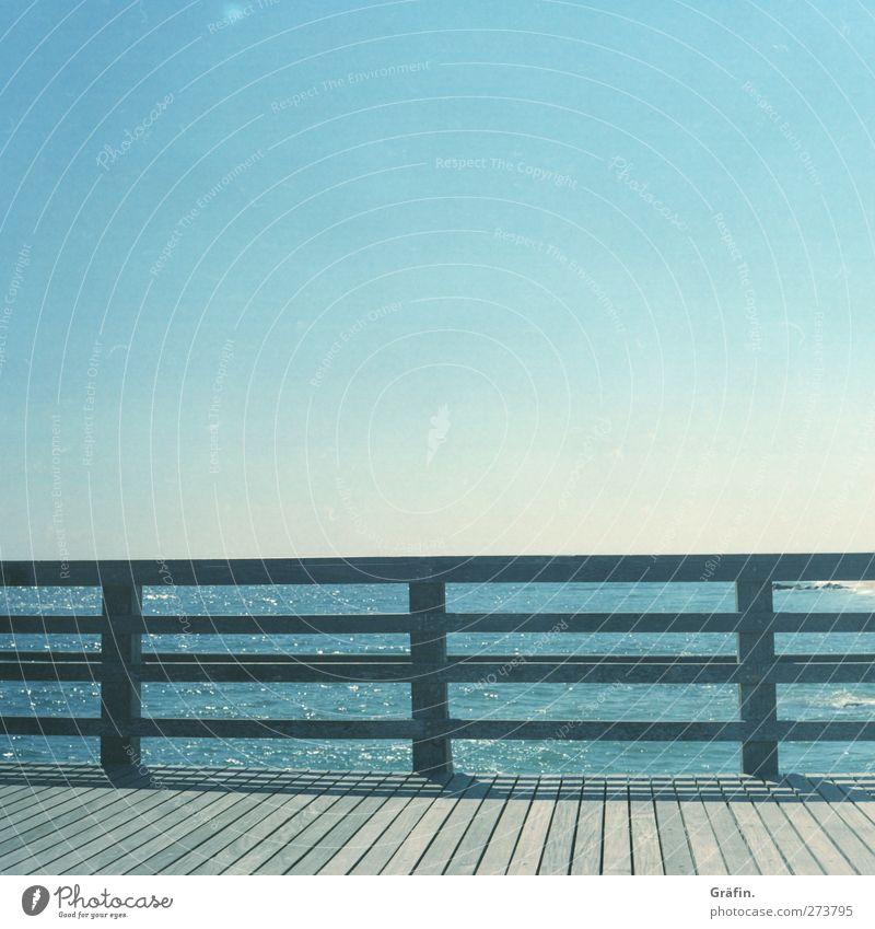 Sky Blue White Summer Sun Ocean Loneliness Calm Relaxation Warmth Wood Line Empty Handrail Longing Bridge railing
