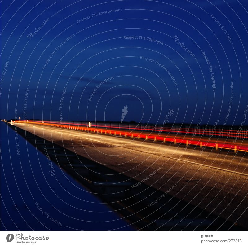 night strip Bridge Architecture Transport Means of transport Traffic infrastructure Road traffic Motoring Street Overpass Vehicle Car Driving Esthetic