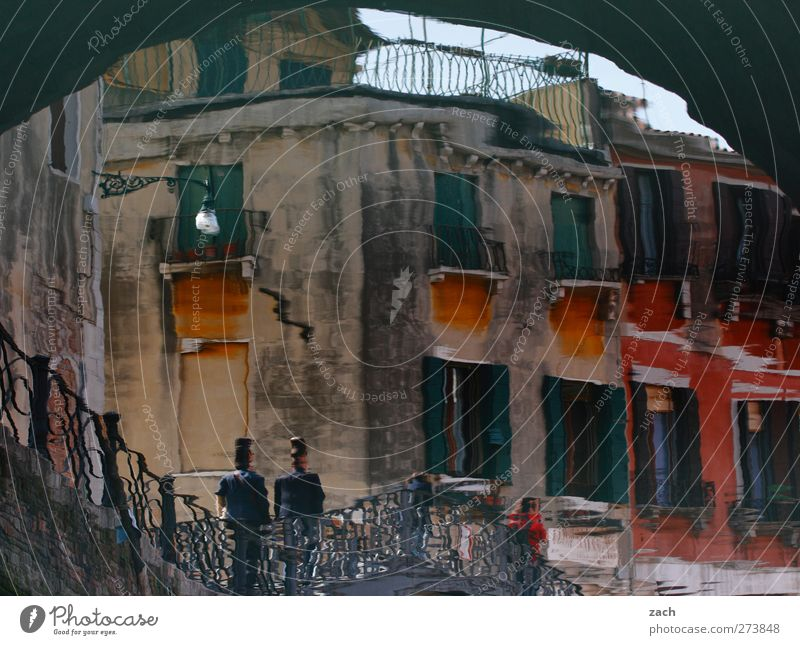 watercolour Human being 2 Water Island Venice Channel Italy Fishing village Port City Old town House (Residential Structure) Ruin Bridge Architecture