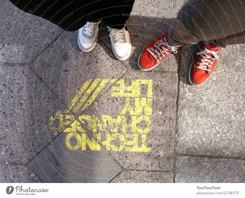 Techno changed my Life Human being Masculine Feminine Woman Adults Man Feet 2 Capital city Footwear Sneakers Joie de vivre (Vitality) Euphoria Cool (slang) Joy