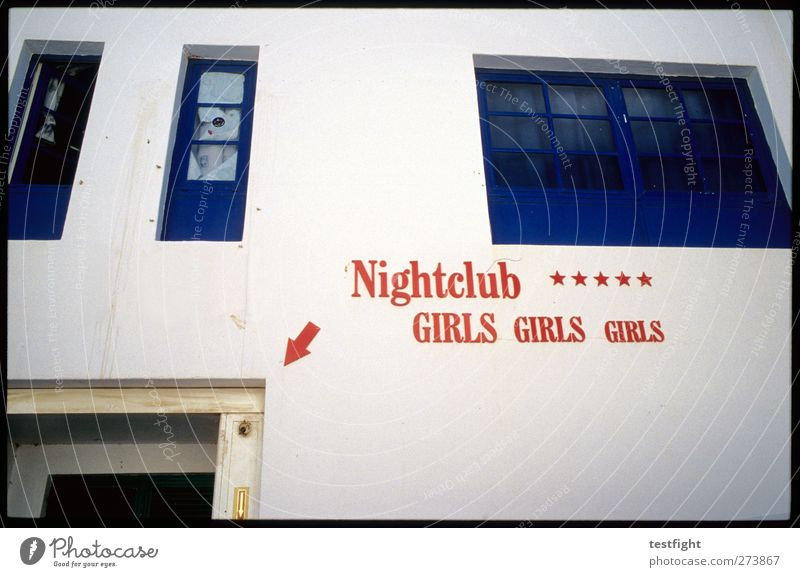 Facade Signage Typography Entrance Section of image Night life Nightclub Red-light district