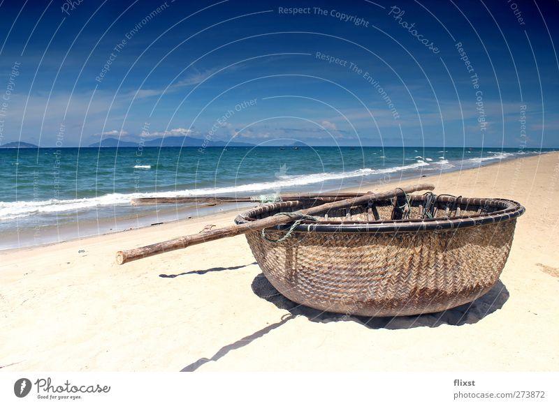 Sky Summer Ocean Beach Loneliness Sand Horizon Beautiful weather Longing Wanderlust Vietnam