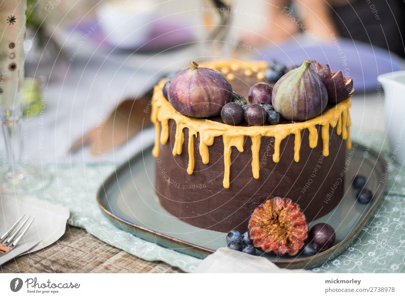 Delicious chocolate cake Chocolate Chocolate cake Cake bake a cake Figs Birthday Birthday celebration cute sweets Baking Baking at home Summer's day nibble