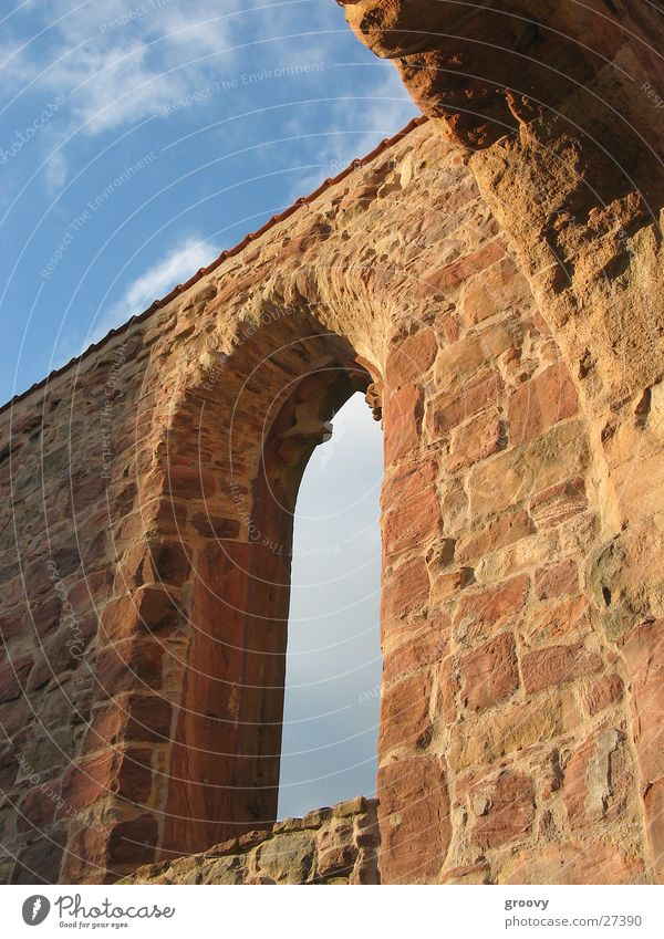 Sky Window Religion and faith Architecture Ruin Monastery Medieval times Sandstone Masonry