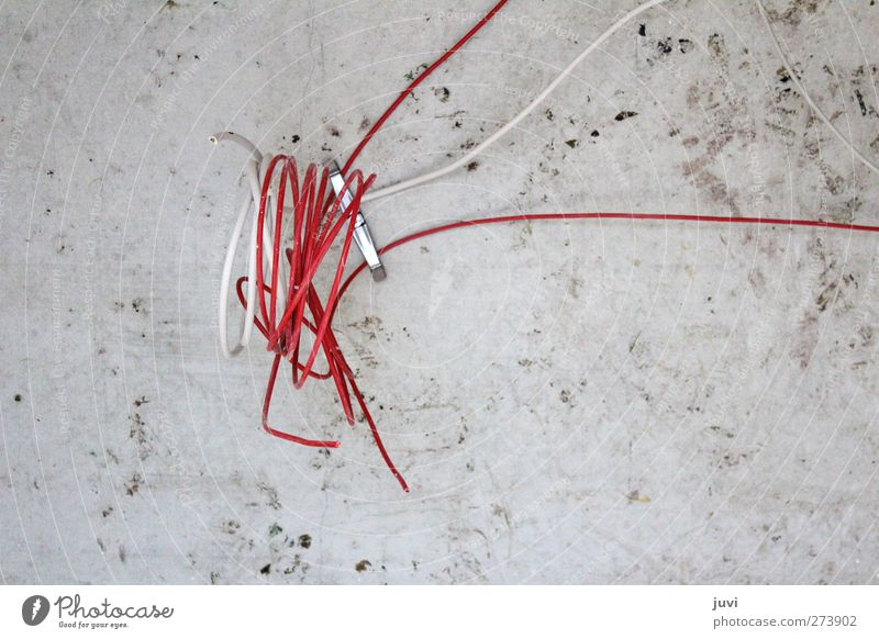 The Red Line Cable Technology Energy industry Wall (barrier) Wall (building) Concrete Knot Build Dirty Gray White Colour photo Subdued colour Interior shot