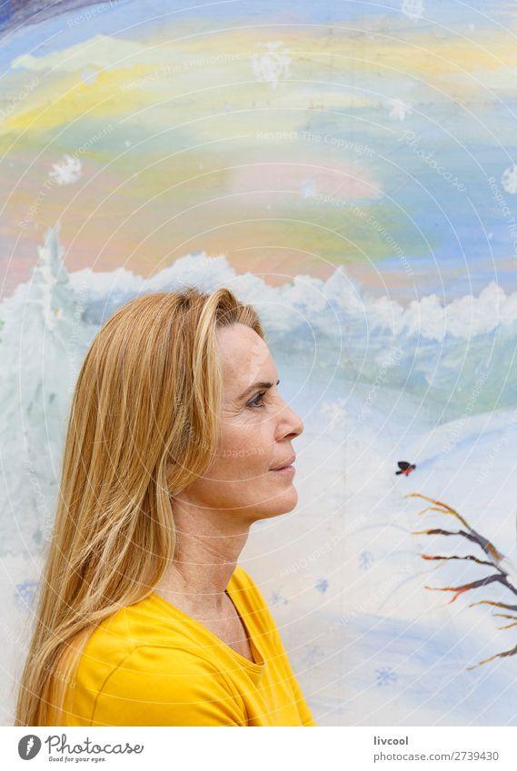 lovely woman-donostia Lifestyle Design Happy Relaxation Human being Feminine Woman Adults Female senior Head 1 45 - 60 years Art Park T-shirt Blonde Horse Bird