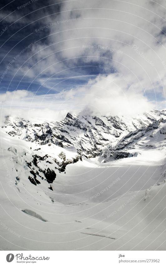 Nature Old Winter Clouds Calm Far-off places Landscape Mountain Snow Life Air Ice Rock Tourism Dangerous Elements