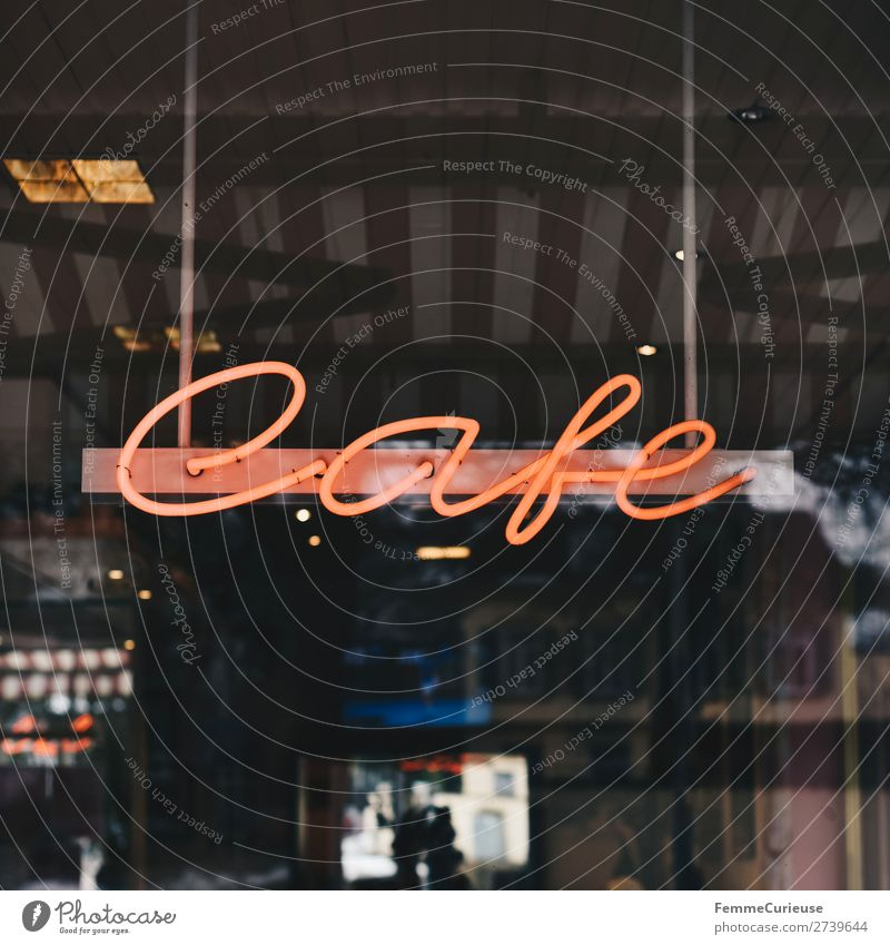 Neon sign with 'Cafe' Sign Signage Warning sign Leisure and hobbies Neon light Logo Characters Café Illuminate Colour photo Exterior shot Artificial light
