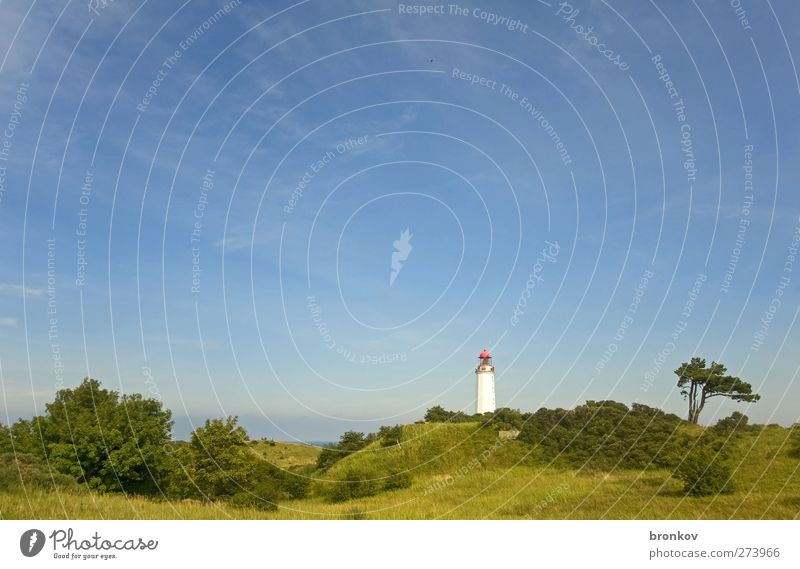 Large lighthouse 003, Hiddensee Landscape Sky Baltic Sea Deserted Lighthouse Landmark Navigation Discover Relaxation Blue Green Serene Infinity Colour photo