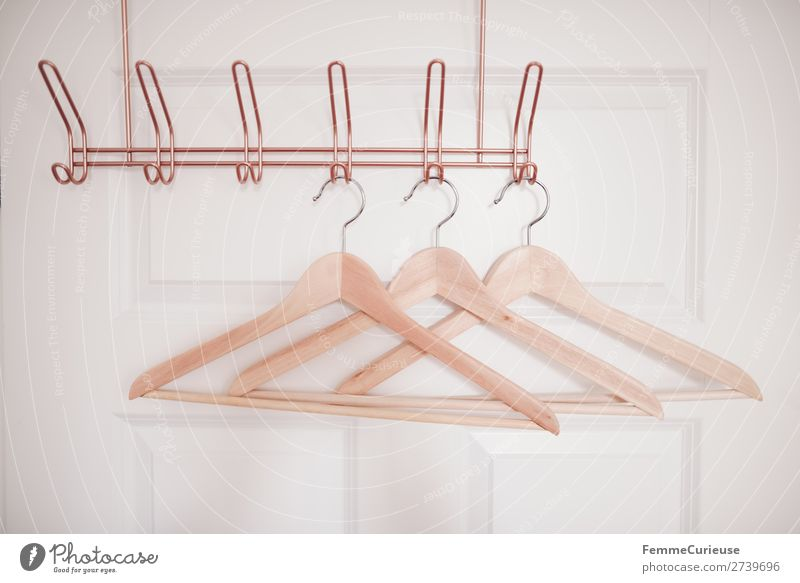 3 coat hangers on copper-coloured coat hook Fashion Clothing Living or residing Hanger Wood Hallstand Clothes peg Copper Door White Bedroom Dressing room