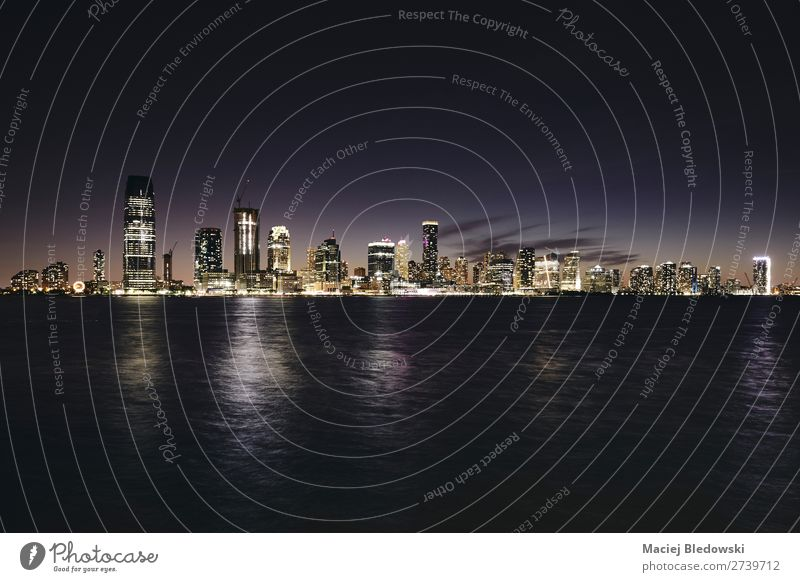 New Jersey panorama at night, USA. Vacation & Travel Sightseeing City trip Sky River Town Downtown Skyline High-rise Building Architecture Dark Elegant Success