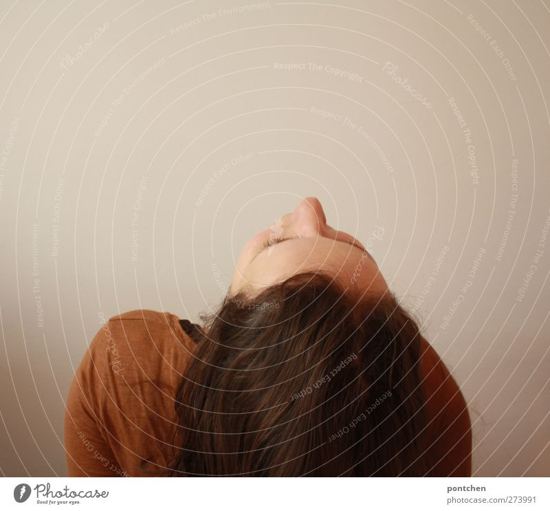 Woman tosses her hair back. Face parallel to the ceiling. Look up. Brown hair Human being Feminine Young woman Youth (Young adults) Adults Head