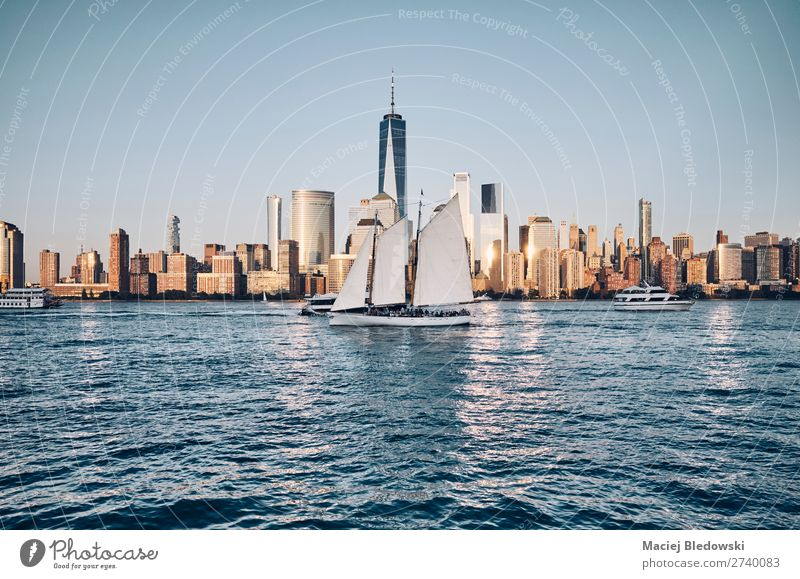 New York City skyline with busy Hudson River, USA. Lifestyle Vacation & Travel Adventure Freedom Sightseeing City trip Sailing Downtown Skyline High-rise