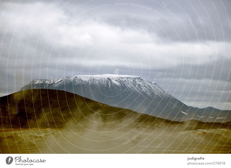 Iceland Environment Nature Landscape Elements Earth Sky Clouds Climate Snow Mountain Peak Snowcapped peak Volcano Herðubreið Cold Natural Warmth Sulphur Steam