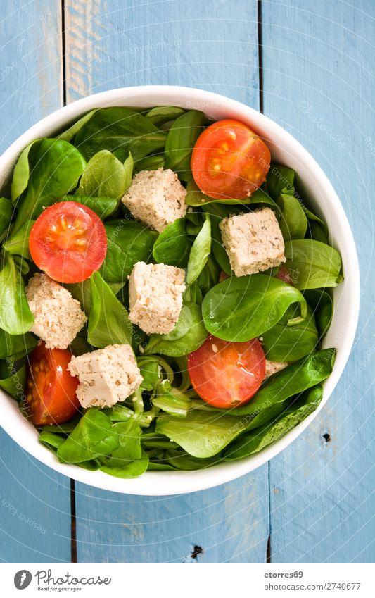 Vegan tofu salad with tomatoes and lamb's lettuce Salad Tofu Tomato lambs lettuce Healthy Diet Vegan diet Vegetarian diet Leaf Chopstick Cherry Raw Green Bowl