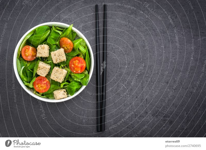 Vegan tofu salad with tomatoes and lamb's lettuce Healthy Eating Green White Food photograph Leaf Black Stone Nutrition Delicious Vegetable Gastronomy