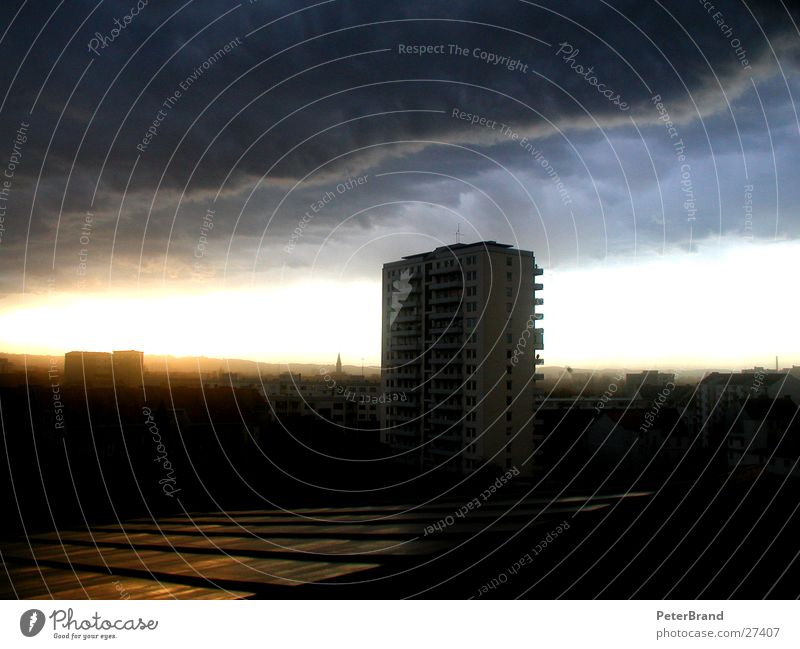 apocalypse Clouds Gale Town High-rise House (Residential Structure) Vantage point Thunder and lightning Sky Wind Architecture