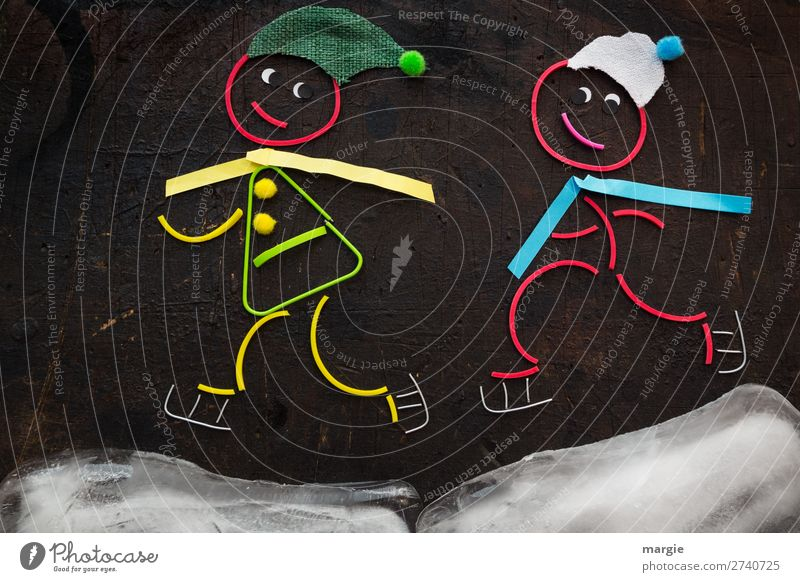 Rubber worms: Ice skater * in Joy Leisure and hobbies Sports Fitness Sports Training Winter sports Sportsperson Human being Masculine Feminine Girl Boy (child)