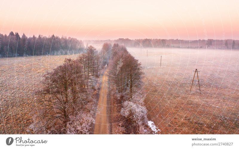 Rural misty dawn morning landscape Beautiful Vacation & Travel Trip Far-off places Freedom Expedition Winter Snow Nature Landscape Earth Air Sky Sunrise Sunset