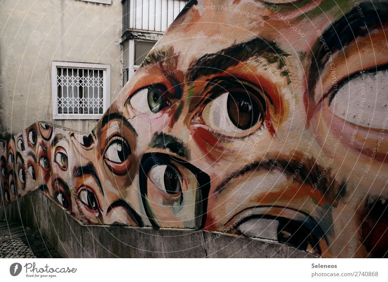 Eyes Architecture Graffiti Wall (building) Building Tourism Wall (barrier) Facade Stairs Observe Sign Lisbon Spy