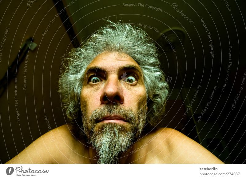 Bad Hair Day Face Masculine Man Adults Eyes Nose Mouth Lips Facial hair 45 - 60 years Looking Surprise Disbelief Stupid Popular belief Aggravation Contact