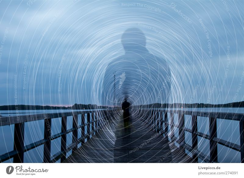 Human being Sky Man Blue Water White Plant Beach Clouds Adults Lake Art Body Masculine Illuminate Bridge