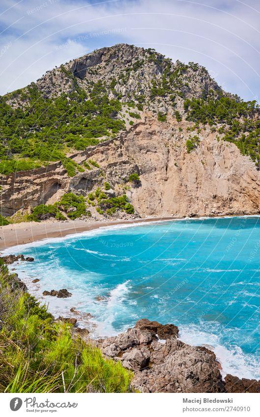 Coll Baix beach on Mallorca, Spain. Beautiful Vacation & Travel Tourism Summer Summer vacation Sun Sunbathing Beach Ocean Island Waves Mountain Nature Landscape