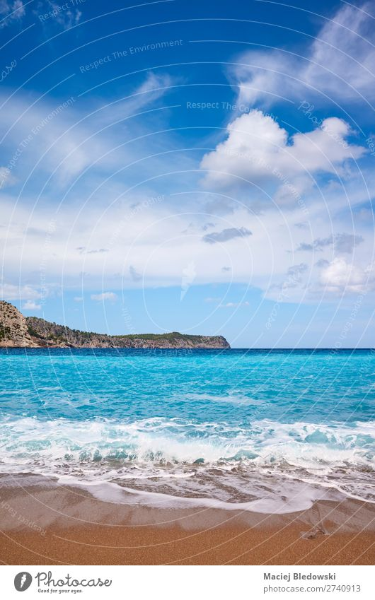 Scenic beach on Mallorca, Spain. Vacation & Travel Trip Freedom Summer Summer vacation Sunbathing Beach Ocean Island Waves Nature Landscape Sand Sky Coast Blue
