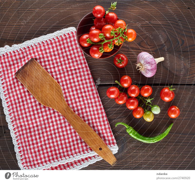 red textile kitchen towel and fresh cherry tomatoes Vegetable Nutrition Vegetarian diet Table Kitchen Nature Wood Fresh Natural Above Juicy Green Red Cooking