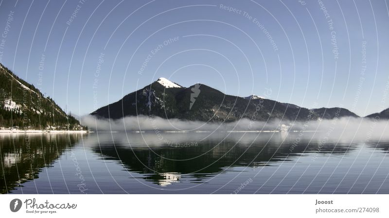 Walchensee Vacation & Travel Trip Freedom Snow Mountain Lake Mirror Environment Nature Landscape Elements Water Sky Cloudless sky Winter Beautiful weather Fog