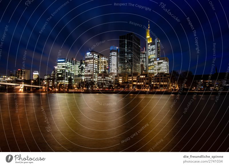 Skyline Frankfurt I Germany Europe Town Downtown High-rise Bank building Blue Multicoloured Yellow Black Esthetic Water River Reflection Long exposure Bridge