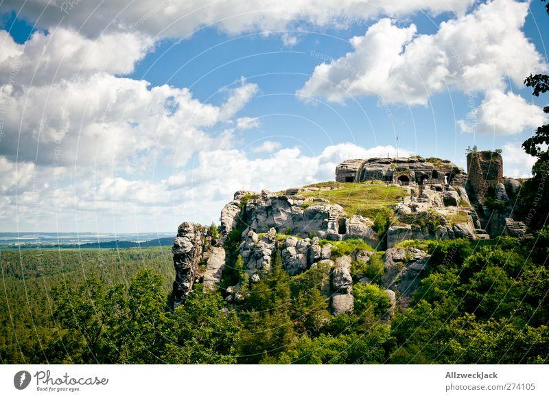 Rock festival(ung) Landscape Sky Clouds Tourist Attraction Felsenburg Rainstone Old Historic Romance Adventure Fortress rock castle Castle Mountain Timeless
