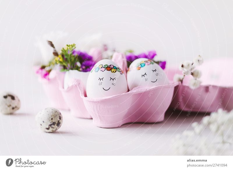 OSTERkuschelEI in pink - sweet Easter eggs in pink egg box Egg Blue Face Beautiful Painted Easter egg nest Copy Space Easter wish Easter gift Card Spring Flower