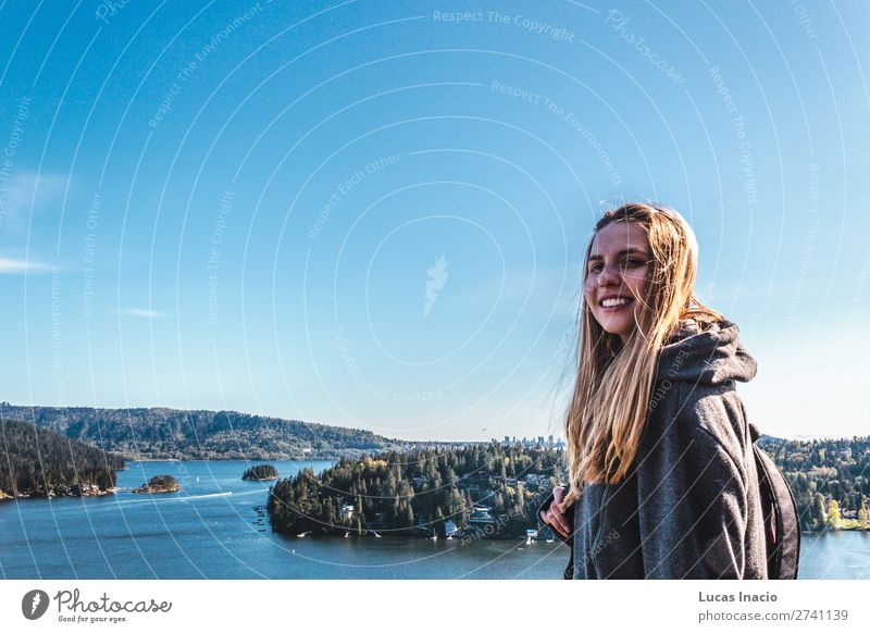 Girl on top of Quarry Rock at North Vancouver, BC, Canada Woman Sky Nature Summer Landscape Tree Ocean Flower Leaf Beach Mountain Adults Environment Blossom