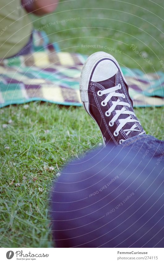 Human being Blue White Relaxation Meadow Feminine Grass Feet Friendship Park Sit Masculine Break Lawn Jeans Denim