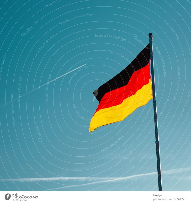 Blue Red Black Germany Illuminate Gold Aviation Culture Esthetic Authentic Wind Beautiful weather German Flag Cloudless sky Society