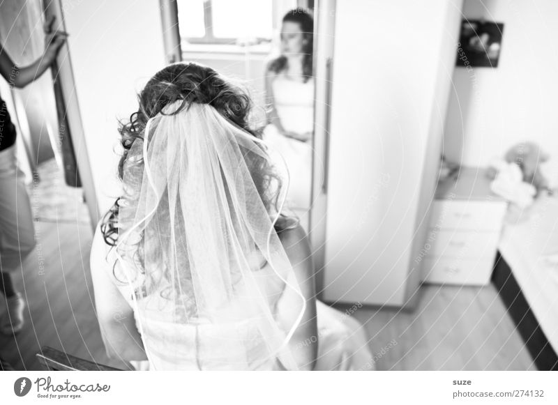 bridal show Joy Hair and hairstyles Mirror Room Feasts & Celebrations Wedding Human being Feminine Young woman Youth (Young adults) Woman Adults 1 18 - 30 years