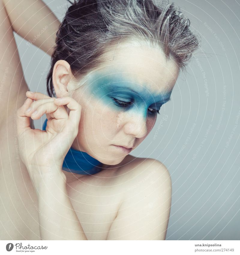 Human being Woman Youth (Young adults) Blue Hand Beautiful Adults Face Feminine Emotions Hair and hairstyles Sadness Young woman Think Dream Moody
