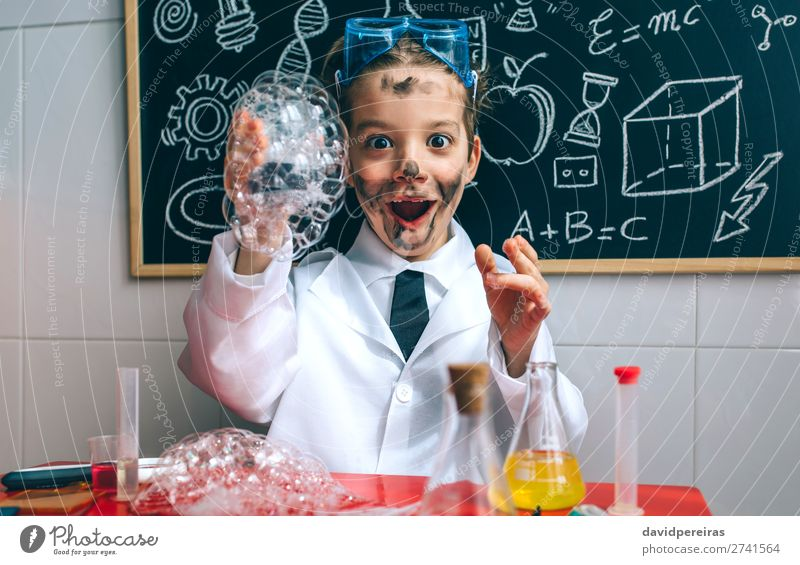 Funny boy chemist with dirty face Happy Playing Science & Research Child School Blackboard Laboratory Human being Boy (child) Man Adults Tie Smiling Smart Pride