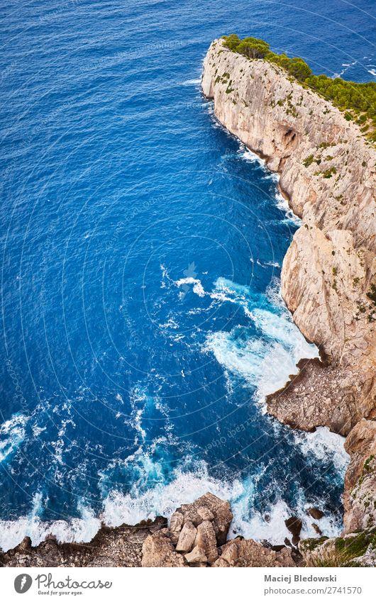 Looking down the cliff, Mallorca. Vacation & Travel Adventure Expedition Summer Ocean Island Nature Landscape Rock Coast Blue Cliff look down Cap de Formentor