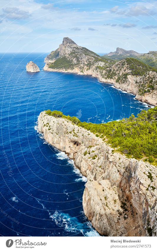 General view of Cap de Formentor, Mallorca. Vacation & Travel Tourism Trip Adventure Far-off places Sightseeing Summer Ocean Island Mountain Hiking Nature