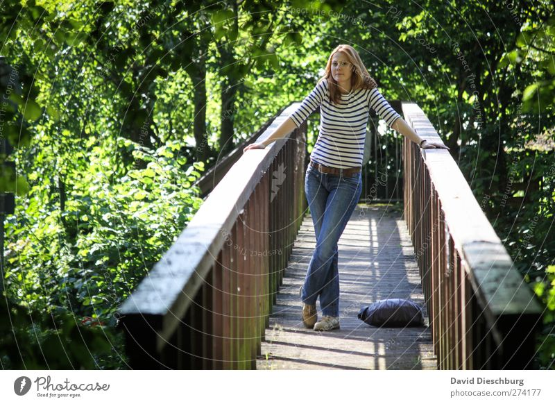 Waiting for summer Human being Feminine Young woman Youth (Young adults) Life 1 18 - 30 years Adults Landscape Summer Tree Park Brown Green Wooden bridge Stand