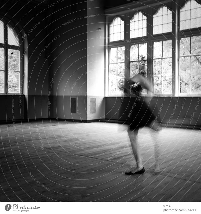 Room To Move | Unfinished Ballroom Story (I) Feminine Woman Adults 1 Human being Hall Wooden floor Window Lattice window Corner of the room Skylight Movement