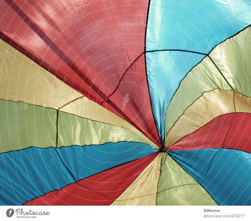 variegated Work of art Hot Air Balloon Cloth Stripe Movement Glittering Multicoloured Prismatic colors Colour photo Subdued colour Exterior shot Detail