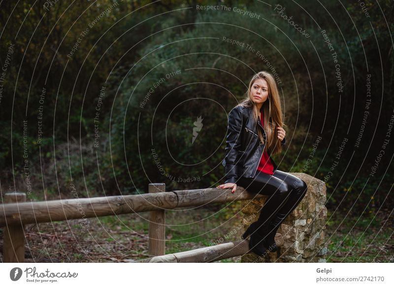 Cool blonde girl sitting on a wooden fence Lifestyle Happy Beautiful Relaxation Vacation & Travel Human being Woman Adults Nature Autumn Leaf Park Forest