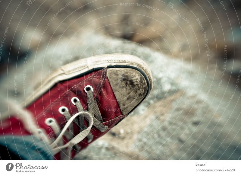 Hiddensee | The Red Shoe Lifestyle Style Beach Fashion Footwear Sneakers Shoelace Bow Stone Old Dirty Trashy White lensbaby Colour photo Subdued colour
